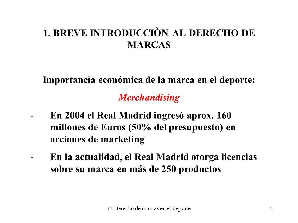 El Derecho de marcas en el deporte5 Importancia económica de la marca en el deporte: Merchandising -En 2004 el Real Madrid ingresó aprox. 160 millones