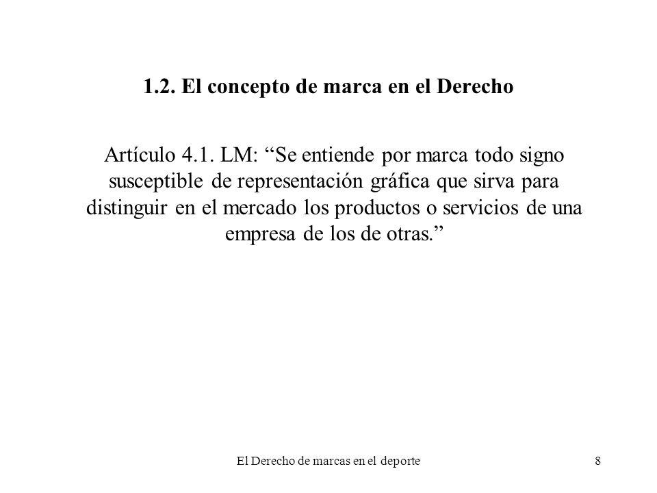 El Derecho de marcas en el deporte8 1.2. El concepto de marca en el Derecho Artículo 4.1. LM: Se entiende por marca todo signo susceptible de represen