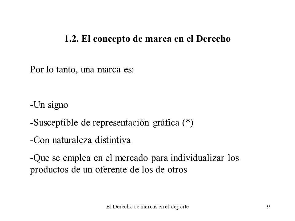 El Derecho de marcas en el deporte9 1.2. El concepto de marca en el Derecho Por lo tanto, una marca es: -Un signo -Susceptible de representación gráfi