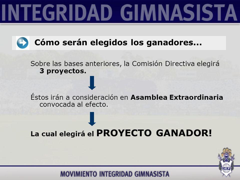 Sobre las bases anteriores, la Comisión Directiva elegirá 3 proyectos.