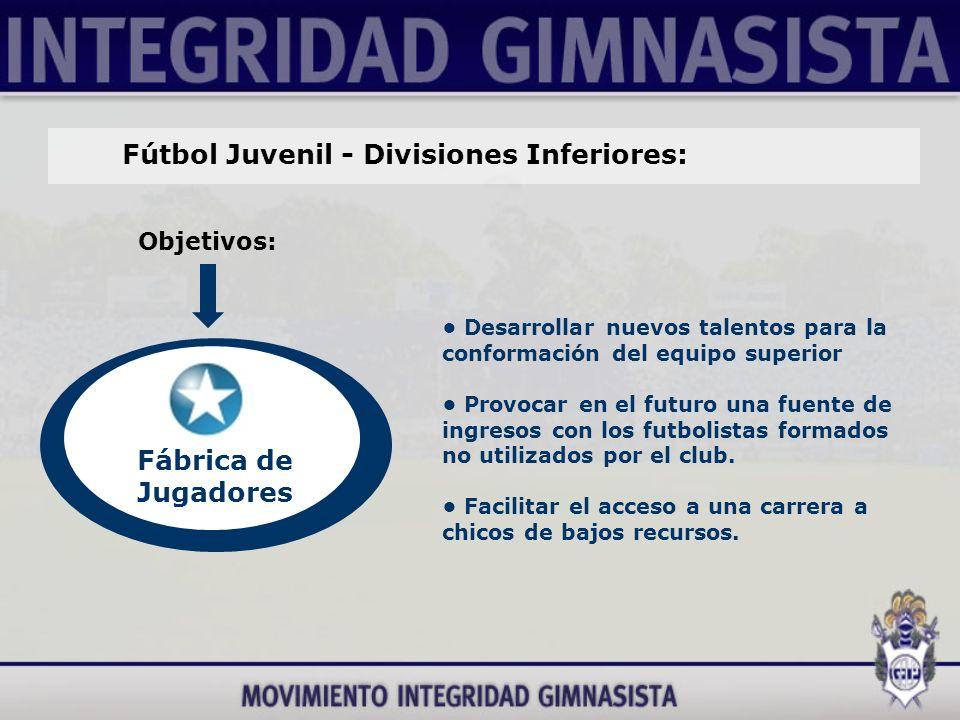 Fútbol Juvenil - Divisiones Inferiores: Objetivos: Fábrica de Jugadores Desarrollar nuevos talentos para la conformación del equipo superior Provocar en el futuro una fuente de ingresos con los futbolistas formados no utilizados por el club.