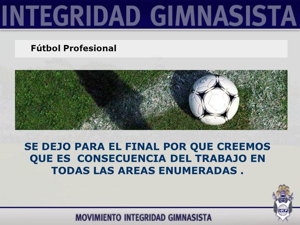 Fútbol Profesional SE DEJO PARA EL FINAL POR QUE CREEMOS QUE ES CONSECUENCIA DEL TRABAJO EN TODAS LAS AREAS ENUMERADAS.