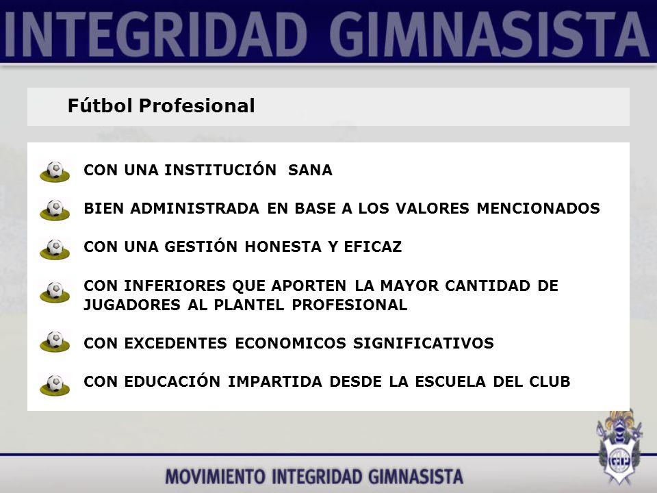 Fútbol Profesional CON UNA INSTITUCIÓN SANA BIEN ADMINISTRADA EN BASE A LOS VALORES MENCIONADOS CON UNA GESTIÓN HONESTA Y EFICAZ CON INFERIORES QUE APORTEN LA MAYOR CANTIDAD DE JUGADORES AL PLANTEL PROFESIONAL CON EXCEDENTES ECONOMICOS SIGNIFICATIVOS CON EDUCACIÓN IMPARTIDA DESDE LA ESCUELA DEL CLUB