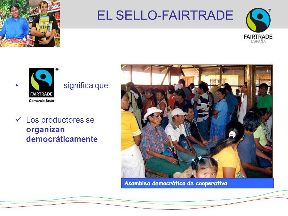 significa que: Los productores se organizan democráticamente Asamblea democrática de cooperativa EL SELLO-FAIRTRADE