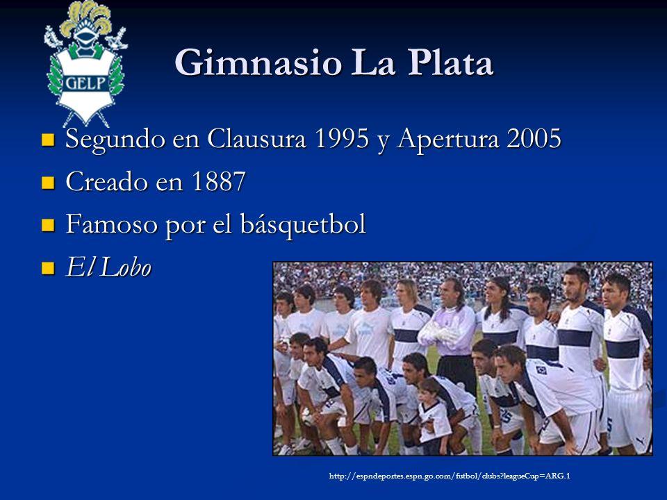 Gimnasio La Plata Segundo en Clausura 1995 y Apertura 2005 Segundo en Clausura 1995 y Apertura 2005 Creado en 1887 Creado en 1887 Famoso por el básquetbol Famoso por el básquetbol El Lobo El Lobo http://espndeportes.espn.go.com/futbol/clubs leagueCup=ARG.1