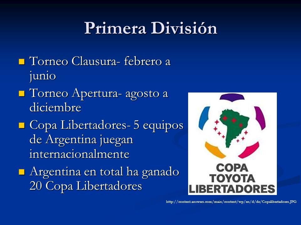 Primera División Torneo Clausura- febrero a junio Torneo Clausura- febrero a junio Torneo Apertura- agosto a diciembre Torneo Apertura- agosto a dicie