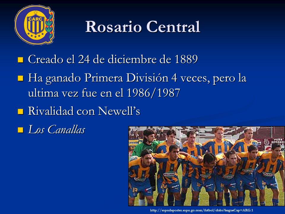 Rosario Central Creado el 24 de diciembre de 1889 Creado el 24 de diciembre de 1889 Ha ganado Primera División 4 veces, pero la ultima vez fue en el 1986/1987 Ha ganado Primera División 4 veces, pero la ultima vez fue en el 1986/1987 Rivalidad con Newells Rivalidad con Newells Los Canallas Los Canallas http://espndeportes.espn.go.com/futbol/clubs leagueCup=ARG.1