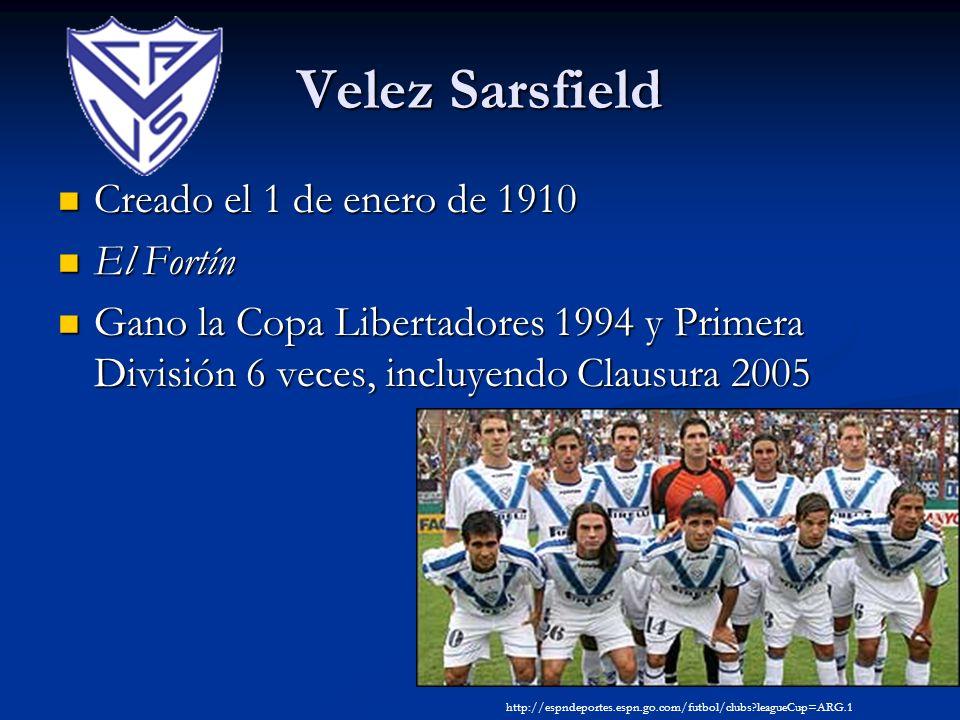 Velez Sarsfield Creado el 1 de enero de 1910 Creado el 1 de enero de 1910 El Fortín El Fortín Gano la Copa Libertadores 1994 y Primera División 6 vece