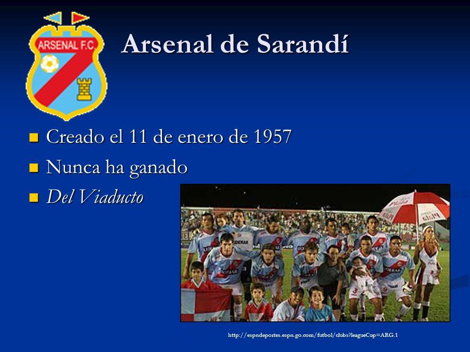 Arsenal de Sarandí Creado el 11 de enero de 1957 Creado el 11 de enero de 1957 Nunca ha ganado Nunca ha ganado Del Viaducto Del Viaducto http://espndeportes.espn.go.com/futbol/clubs leagueCup=ARG.1