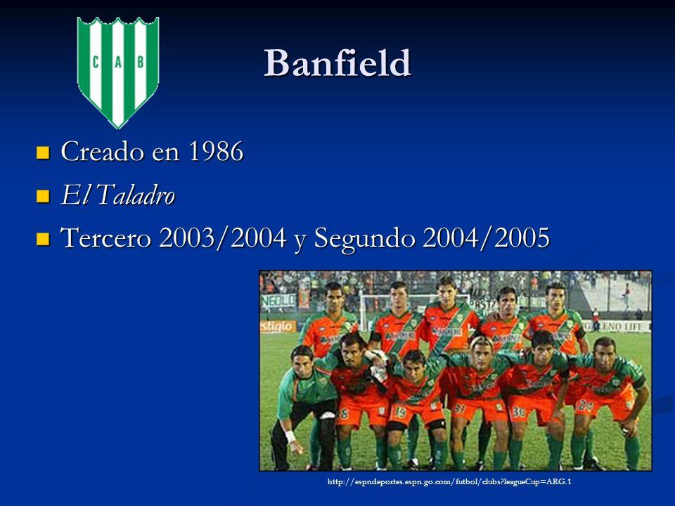 Banfield Creado en 1986 Creado en 1986 El Taladro El Taladro Tercero 2003/2004 y Segundo 2004/2005 Tercero 2003/2004 y Segundo 2004/2005 http://espndeportes.espn.go.com/futbol/clubs leagueCup=ARG.1