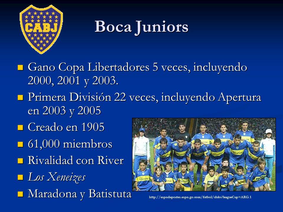 Boca Juniors Gano Copa Libertadores 5 veces, incluyendo 2000, 2001 y 2003. Gano Copa Libertadores 5 veces, incluyendo 2000, 2001 y 2003. Primera Divis