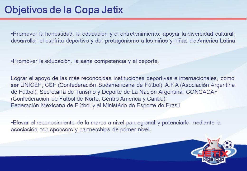 Objetivos de la Copa Jetix Promover la honestidad; la educación y el entretenimiento; apoyar la diversidad cultural; desarrollar el espíritu deportivo