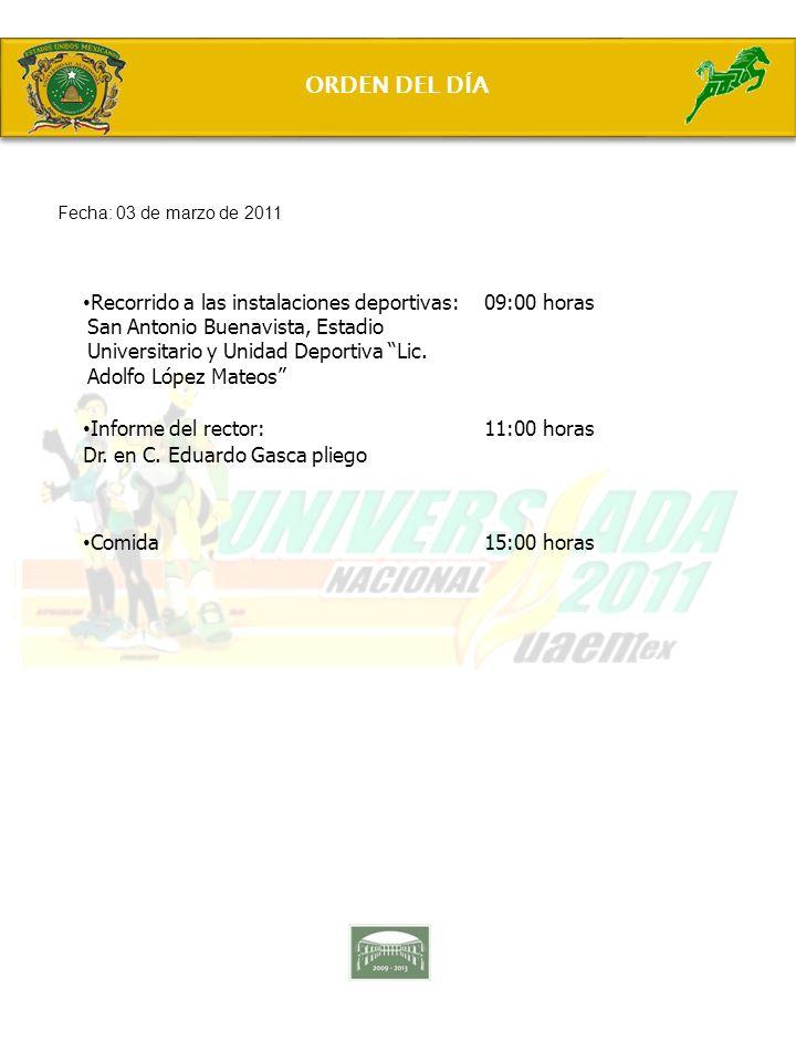 Recorrido a las instalaciones deportivas: San Antonio Buenavista, Estadio Universitario y Unidad Deportiva Lic. Adolfo López Mateos 09:00 horas Inform