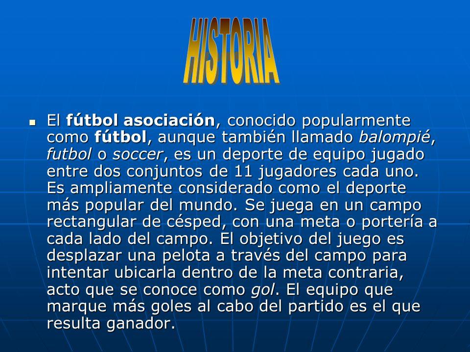 El fútbol asociación, conocido popularmente como fútbol, aunque también llamado balompié, futbol o soccer, es un deporte de equipo jugado entre dos conjuntos de 11 jugadores cada uno.