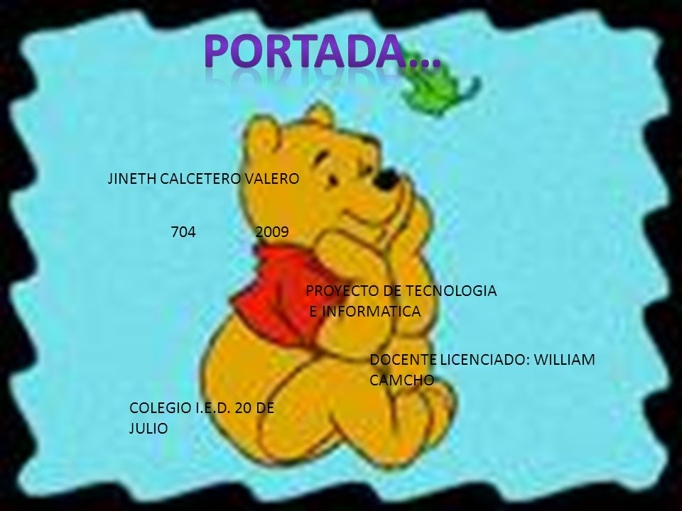 JINETH CALCETERO VALERO 704 2009 PROYECTO DE TECNOLOGIA E INFORMATICA DOCENTE LICENCIADO: WILLIAM CAMCHO COLEGIO I.E.D.