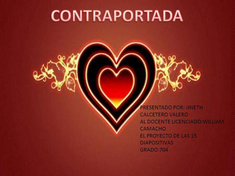 PRESENTADO POR: JINETH CALCETERO VALERO AL DOCENTE LICENCIADO:WILLIAM CAMACHO EL PROYECTO DE LAS 15 DIAPOSITIVAS GRADO:704