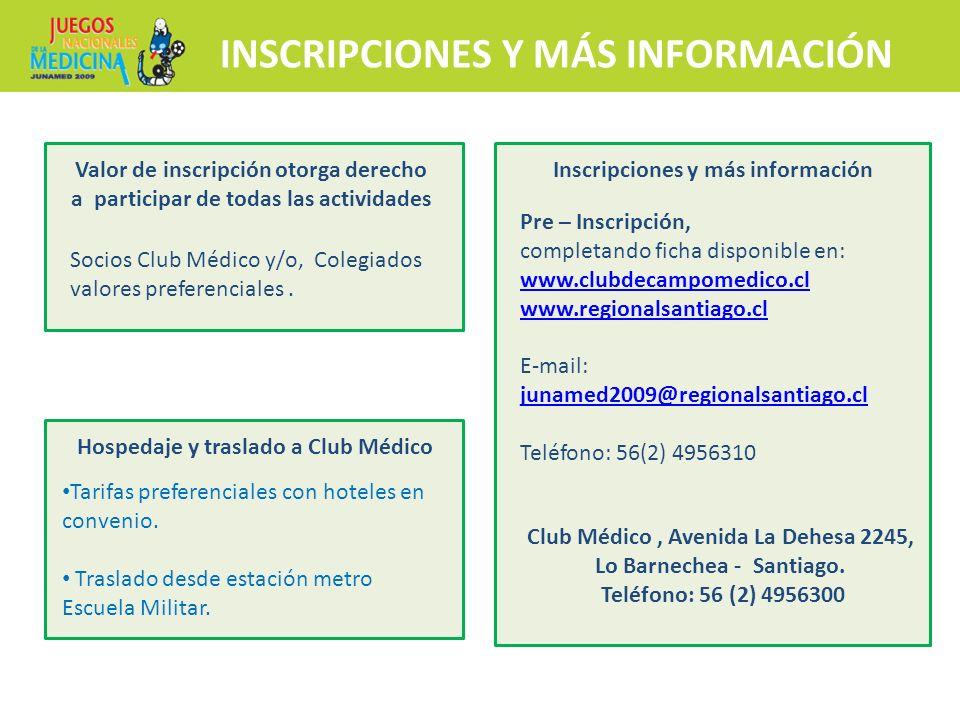 INSCRIPCIONES Y MÁS INFORMACIÓN Pre – Inscripción, completando ficha disponible en: www.clubdecampomedico.cl www.clubdecampomedico.cl www.regionalsant
