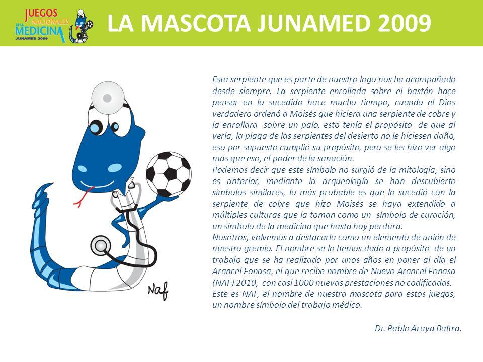 Inscripciones y más información Hospedaje y traslado a Club Médico LA MASCOTA JUNAMED 2009 N Esta serpiente que es parte de nuestro logo nos ha acompa