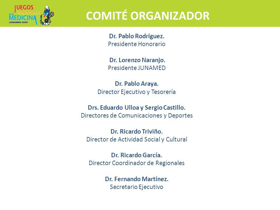 COMITÉ ORGANIZADOR Inscripciones y más información Hospedaje y traslado a Club Médico Dr. Pablo Rodríguez. Presidente Honorario Dr. Lorenzo Naranjo. P
