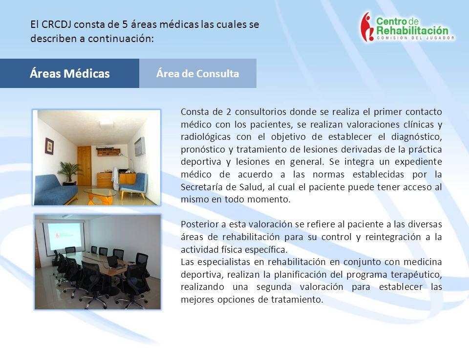 Área de Consulta Áreas Médicas El CRCDJ consta de 5 áreas médicas las cuales se describen a continuación: Consta de 2 consultorios donde se realiza el