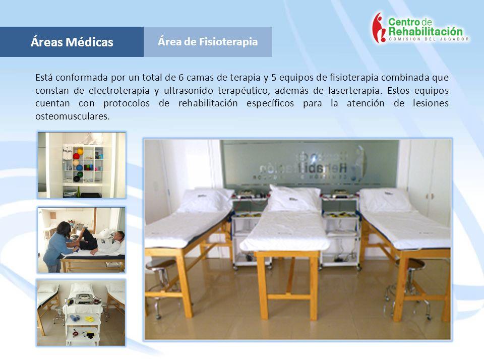 Área de Fisioterapia Áreas Médicas Está conformada por un total de 6 camas de terapia y 5 equipos de fisioterapia combinada que constan de electrotera