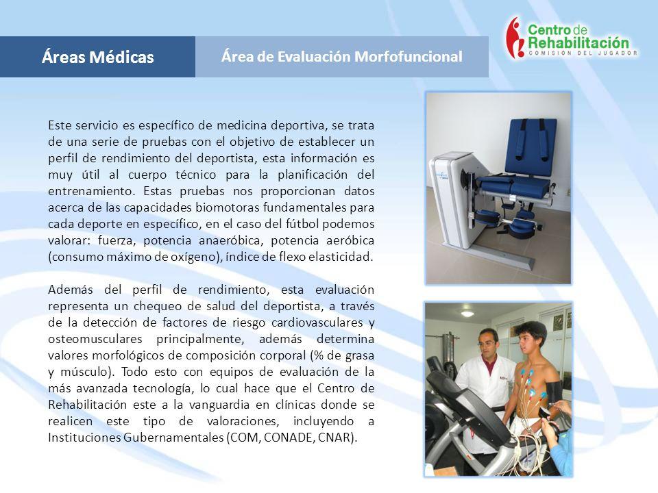 Área de Evaluación Morfofuncional Áreas Médicas Este servicio es específico de medicina deportiva, se trata de una serie de pruebas con el objetivo de