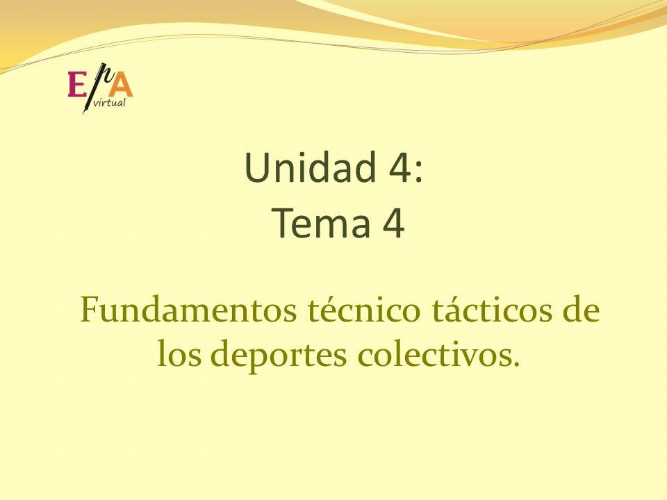 Unidad 4: Tema 4 Fundamentos técnico tácticos de los deportes colectivos.