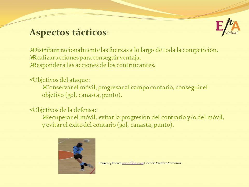 Aspectos tácticos : Distribuir racionalmente las fuerzas a lo largo de toda la competición. Realizar acciones para conseguir ventaja. Responder a las