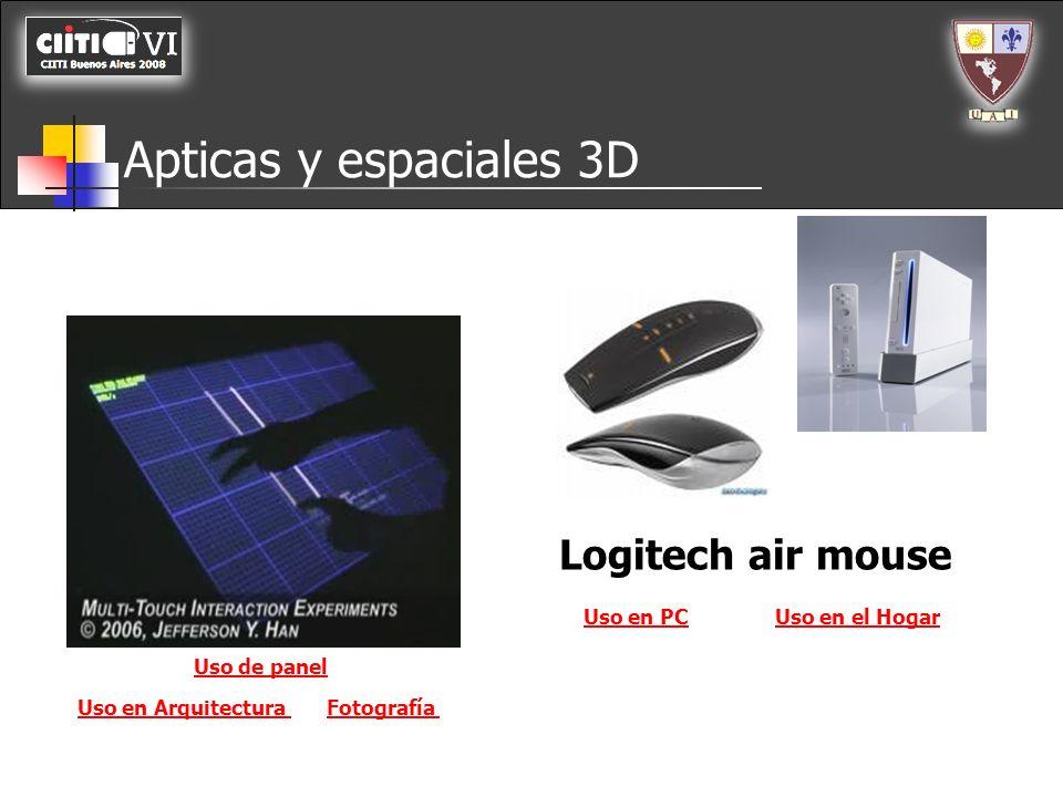 Apticas y espaciales 3D Logitech air mouse Uso en PCUso en el Hogar Fotografía Uso de panel Uso en Arquitectura