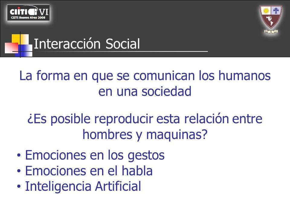 Interacción Social La forma en que se comunican los humanos en una sociedad ¿Es posible reproducir esta relación entre hombres y maquinas? Emociones e
