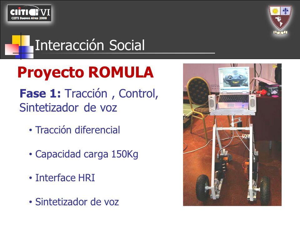 Interacción Social Tracción diferencial Capacidad carga 150Kg Interface HRI Sintetizador de voz Fase 1: Tracción, Control, Sintetizador de voz Proyect