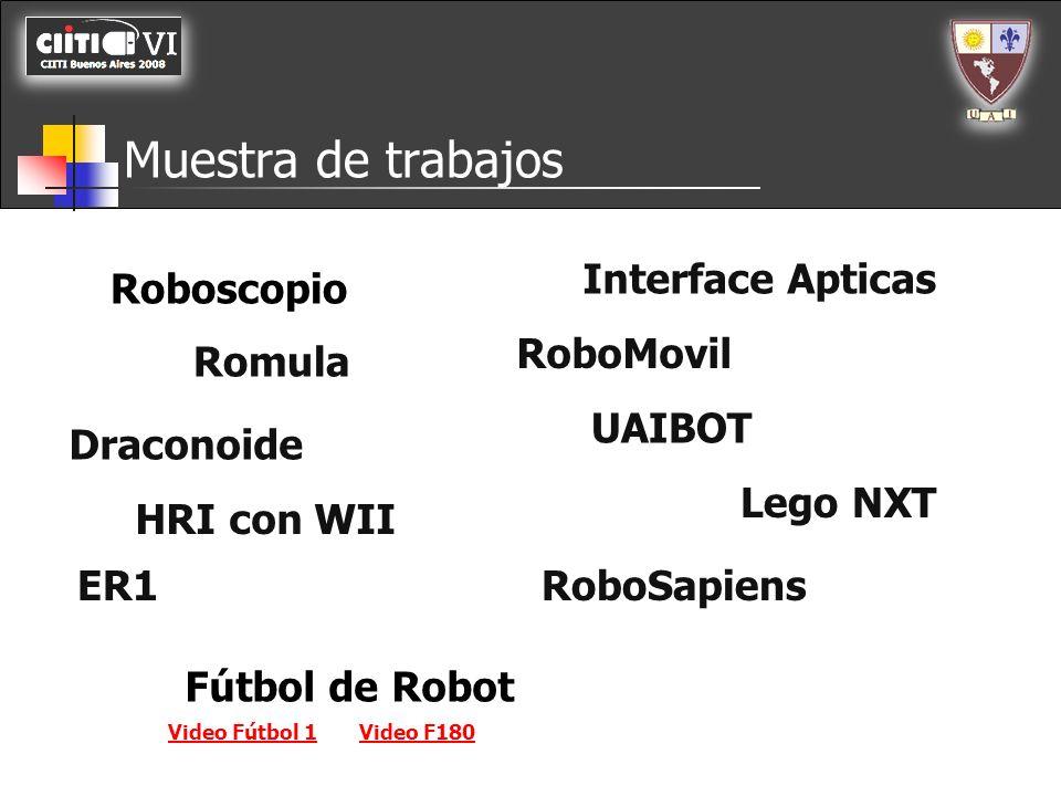 Muestra de trabajos Roboscopio Romula Draconoide HRI con WII Interface Apticas RoboMovil UAIBOT ER1 Lego NXT RoboSapiens Fútbol de Robot Video Fútbol