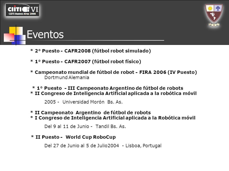 Eventos * 2° Puesto - CAFR2008 (fútbol robot simulado) * 1° Puesto - CAFR2007 (fútbol robot físico) * Campeonato mundial de fútbol de robot - FIRA 200