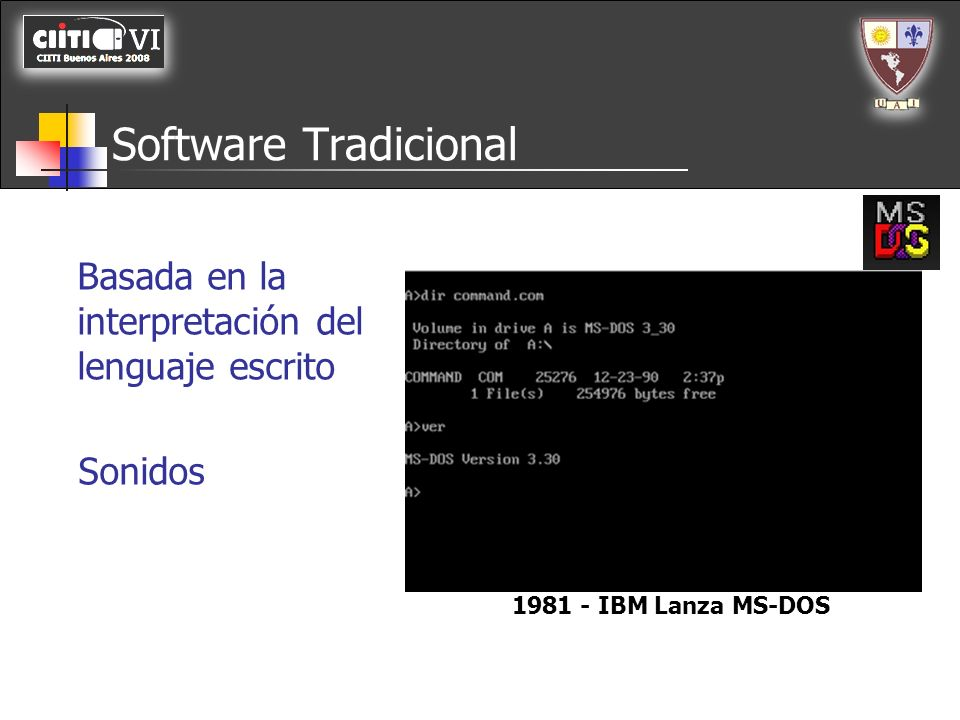 Software Tradicional Basada en la interpretación del lenguaje escrito Sonidos 1981 - IBM Lanza MS-DOS