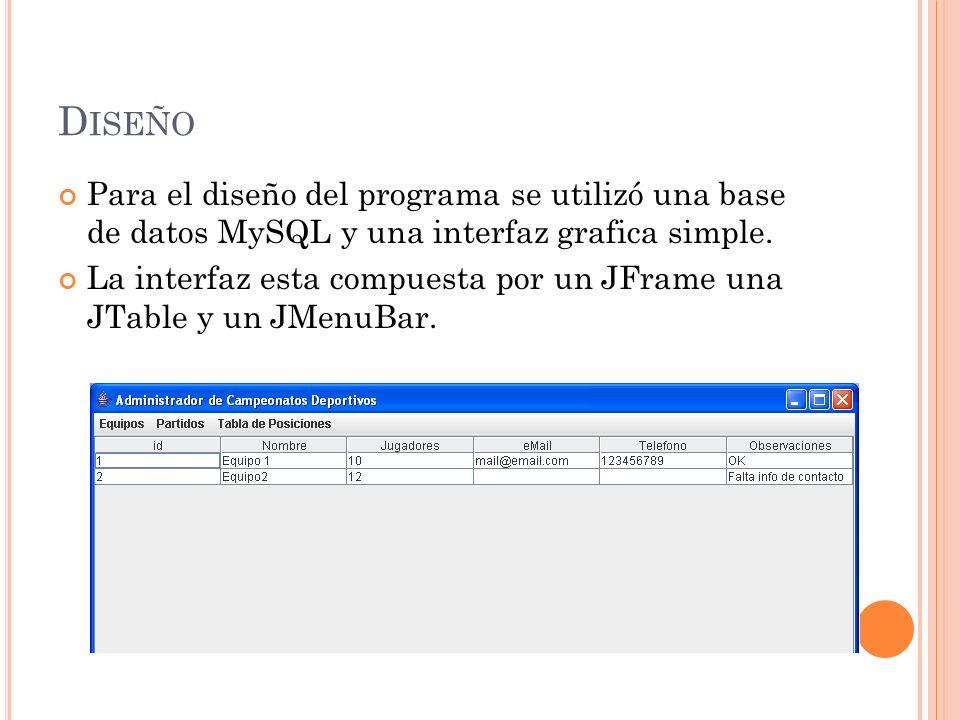 D ISEÑO Para el diseño del programa se utilizó una base de datos MySQL y una interfaz grafica simple.