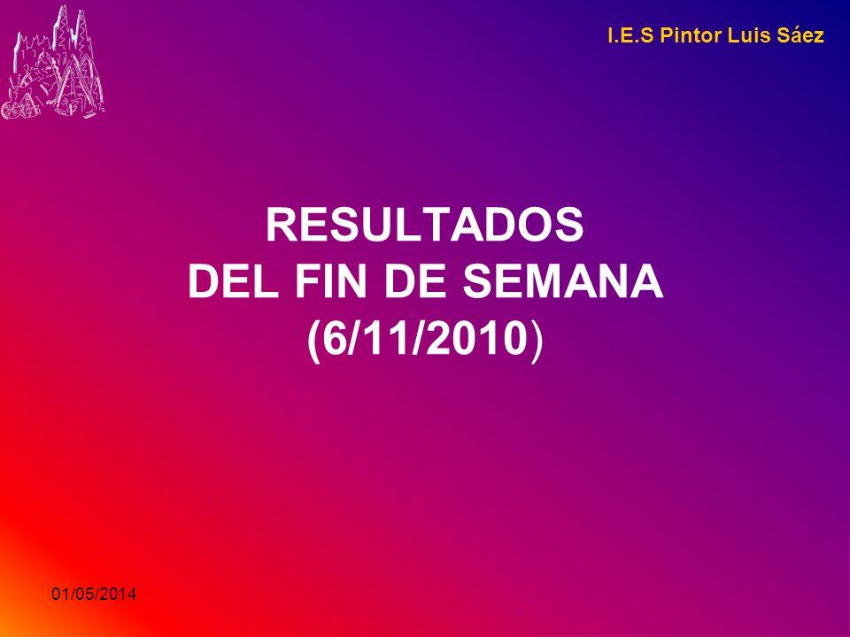 01/05/2014 RESULTADOS DEL FIN DE SEMANA (6/11/2010) I.E.S Pintor Luis Sáez