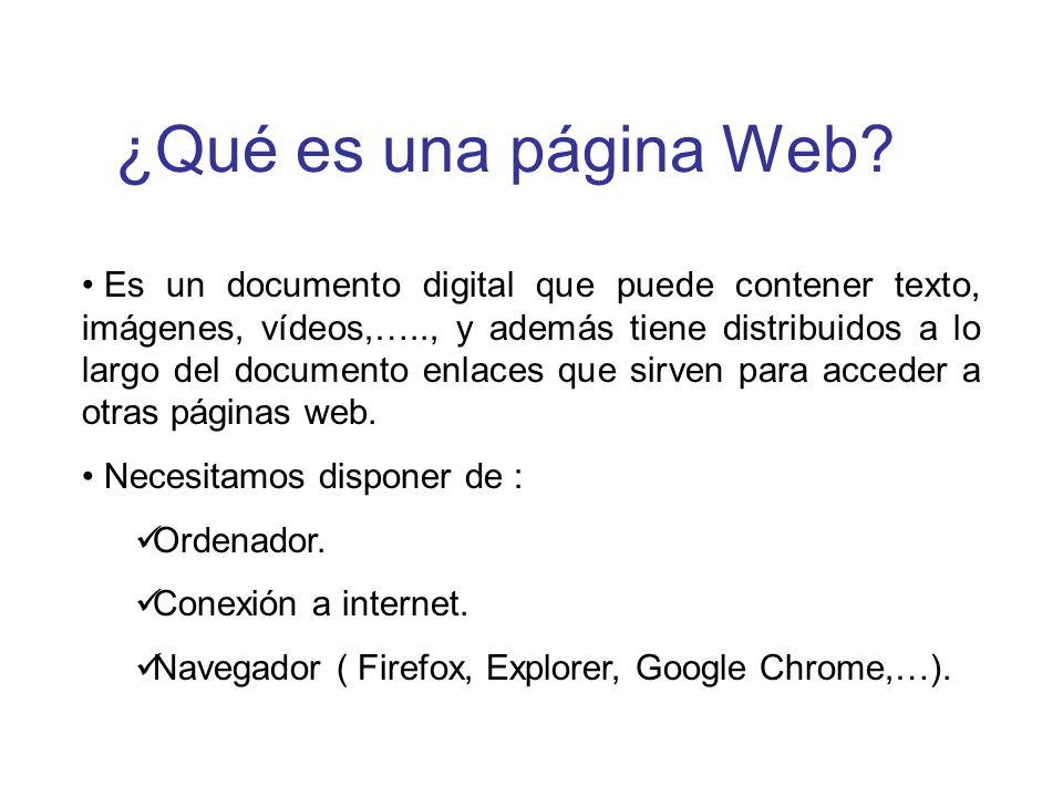 ¿Qué es una página Web? Es un documento digital que puede contener texto, imágenes, vídeos,….., y además tiene distribuidos a lo largo del documento e