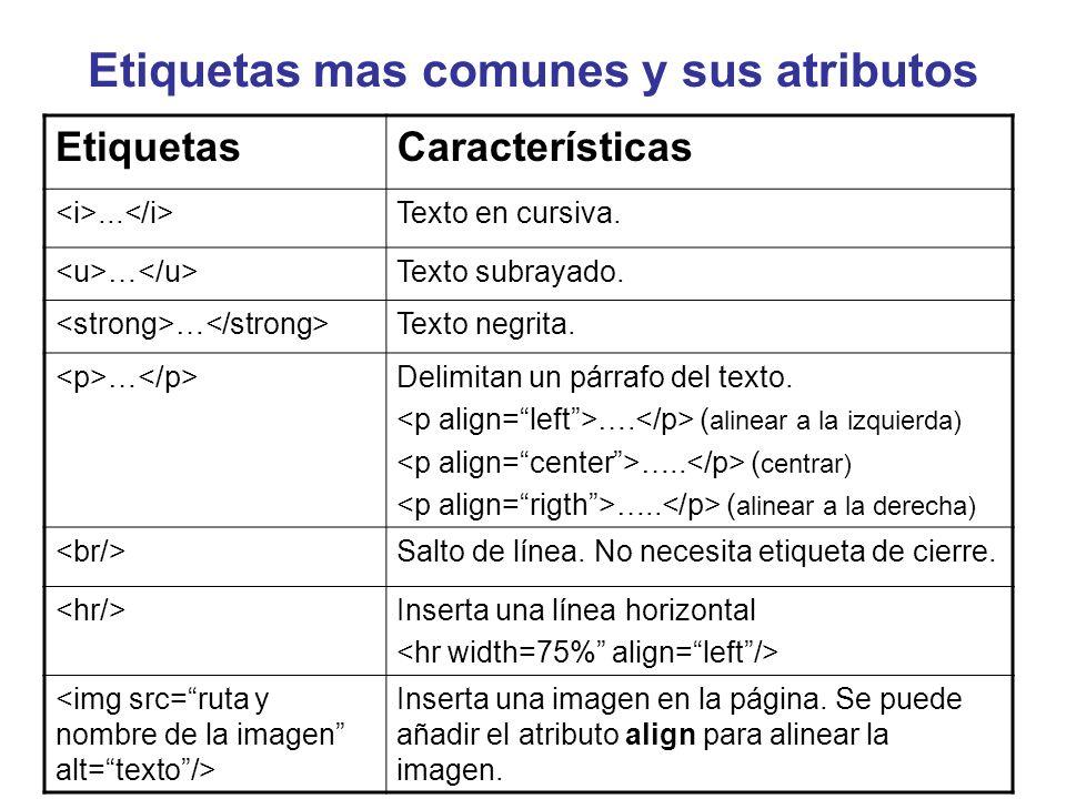 Etiquetas mas comunes y sus atributos EtiquetasCaracterísticas... Texto en cursiva. … Texto subrayado. … Texto negrita. … Delimitan un párrafo del tex