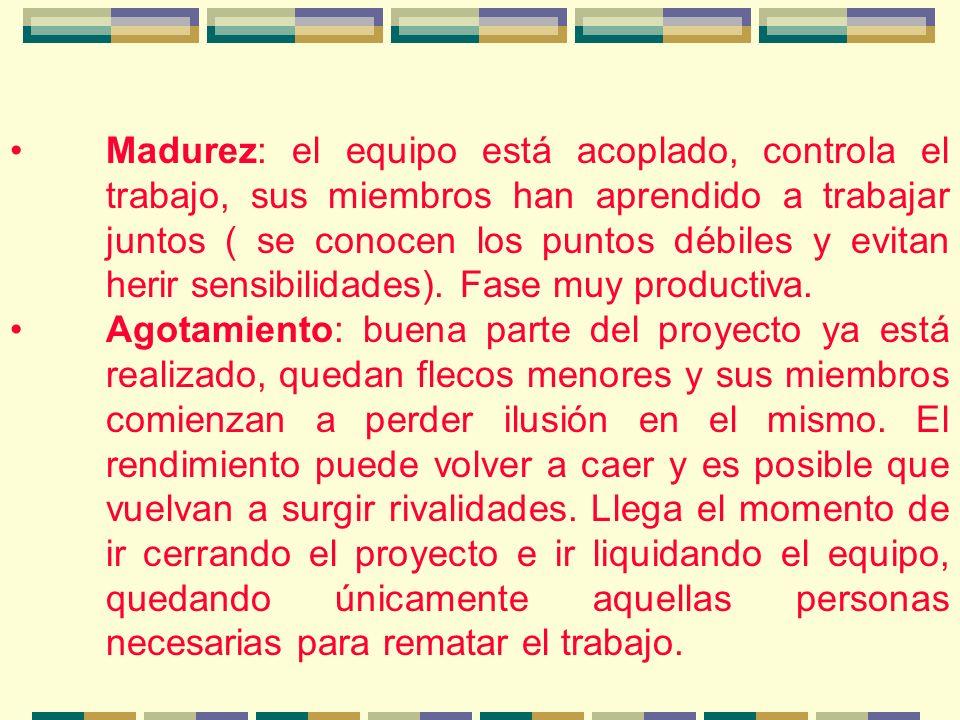 Madurez: el equipo está acoplado, controla el trabajo, sus miembros han aprendido a trabajar juntos ( se conocen los puntos débiles y evitan herir sensibilidades).