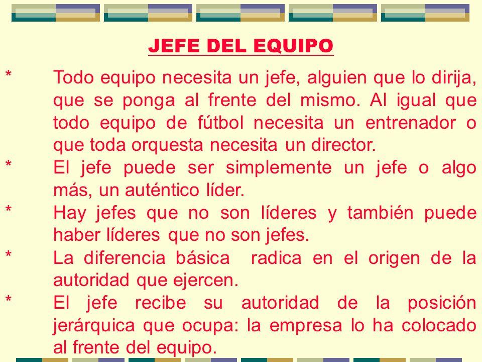 JEFE DEL EQUIPO *Todo equipo necesita un jefe, alguien que lo dirija, que se ponga al frente del mismo.
