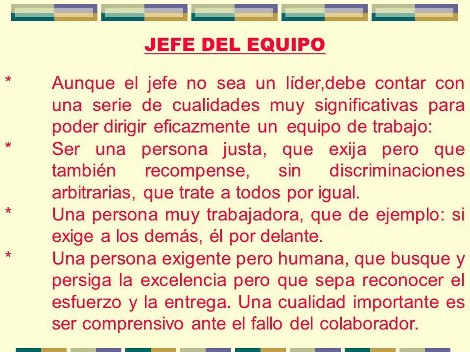 JEFE DEL EQUIPO *Aunque el jefe no sea un líder,debe contar con una serie de cualidades muy significativas para poder dirigir eficazmente un equipo de trabajo: *Ser una persona justa, que exija pero que también recompense, sin discriminaciones arbitrarias, que trate a todos por igual.