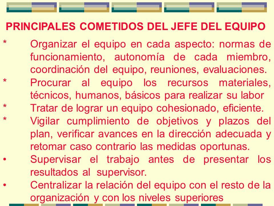 PRINCIPALES COMETIDOS DEL JEFE DEL EQUIPO *Organizar el equipo en cada aspecto: normas de funcionamiento, autonomía de cada miembro, coordinación del equipo, reuniones, evaluaciones.