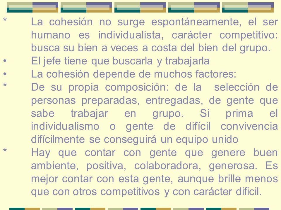 *La cohesión no surge espontáneamente, el ser humano es individualista, carácter competitivo: busca su bien a veces a costa del bien del grupo.