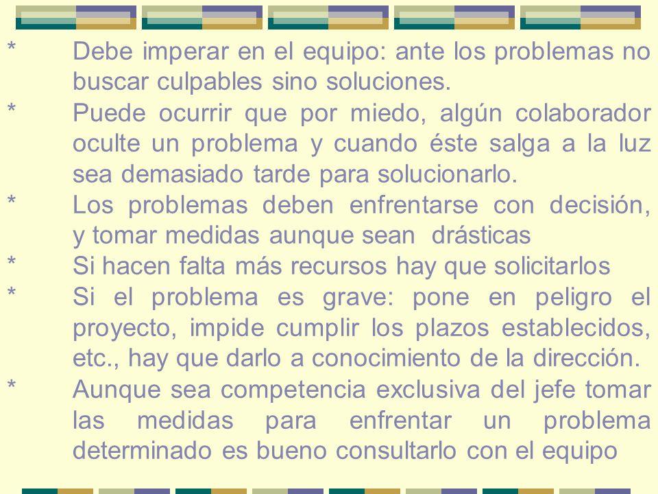 *Debe imperar en el equipo: ante los problemas no buscar culpables sino soluciones.