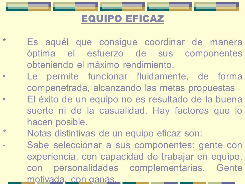 EQUIPO EFICAZ *Es aquél que consigue coordinar de manera óptima el esfuerzo de sus componentes obteniendo el máximo rendimiento.