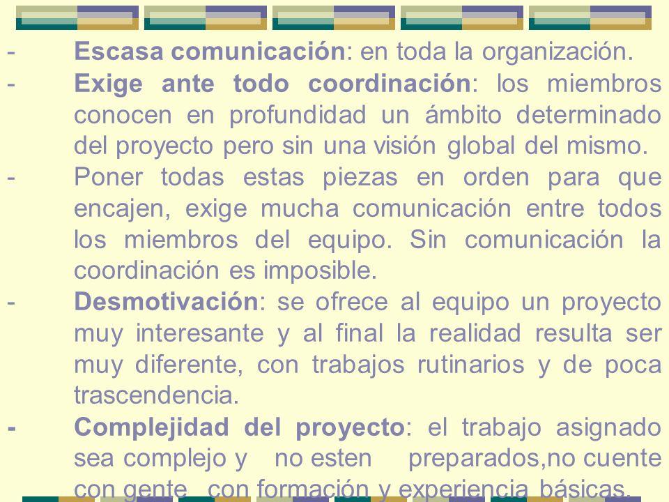 -Escasa comunicación: en toda la organización.
