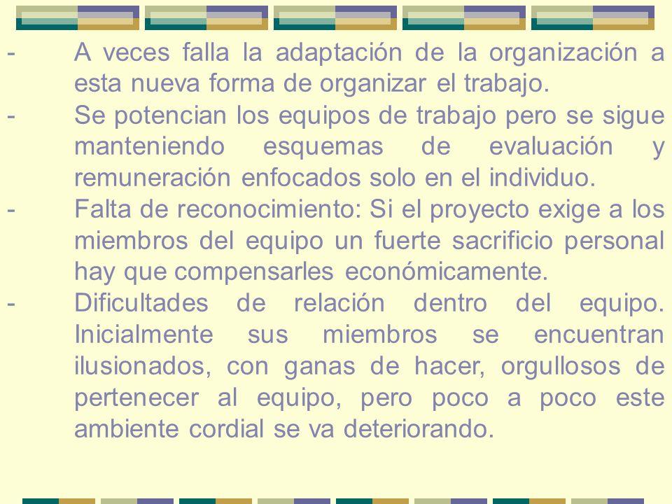 -A veces falla la adaptación de la organización a esta nueva forma de organizar el trabajo.