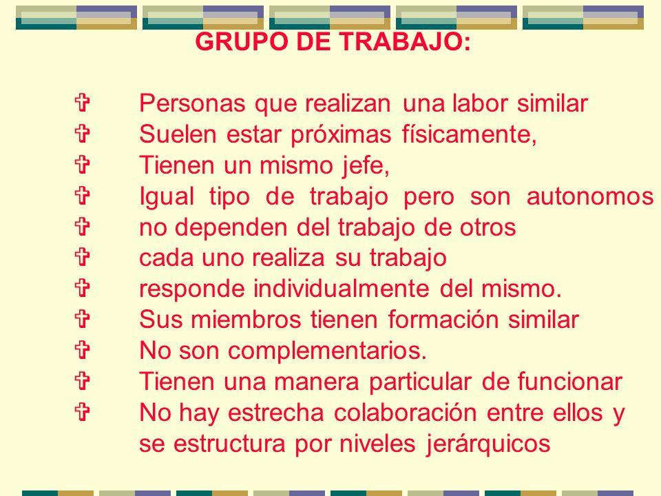 EL EQUIPO DE TRABAJO: responde en su conjunto del trabajo realizado mientras que en el grupo de trabajo cada persona responde individualmente.