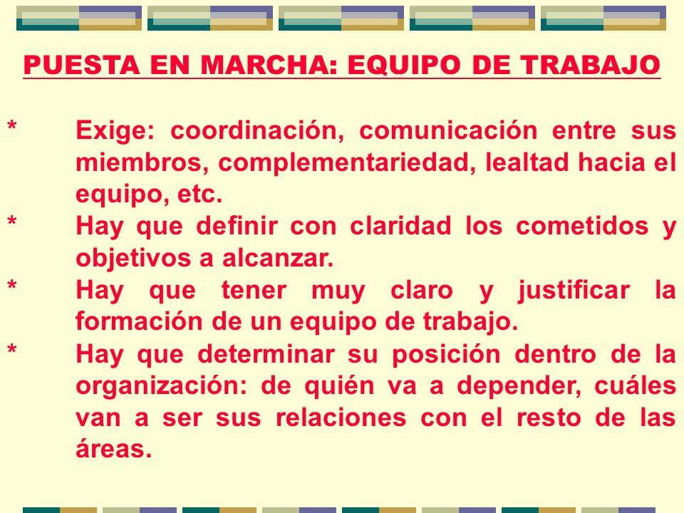 PUESTA EN MARCHA: EQUIPO DE TRABAJO *Exige: coordinación, comunicación entre sus miembros, complementariedad, lealtad hacia el equipo, etc.