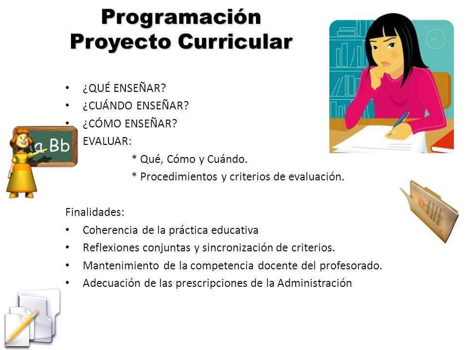 Programación Proyecto Curricular ¿QUÉ ENSEÑAR? ¿CUÁNDO ENSEÑAR? ¿CÓMO ENSEÑAR? EVALUAR: * Qué, Cómo y Cuándo. * Procedimientos y criterios de evaluaci